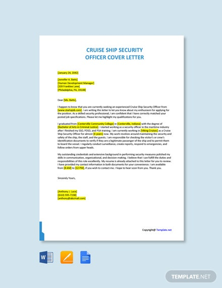 Free Cruise Ship Security Officer Cover Letter Template