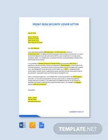 Free Front Desk Security Cover Letter Template