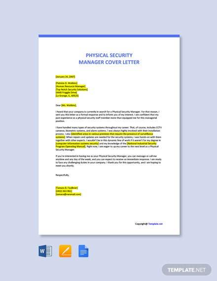 Free Physical Security Manager Cover Letter Template