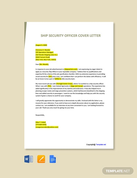 Free Ship Security Officer Cover Letter Template