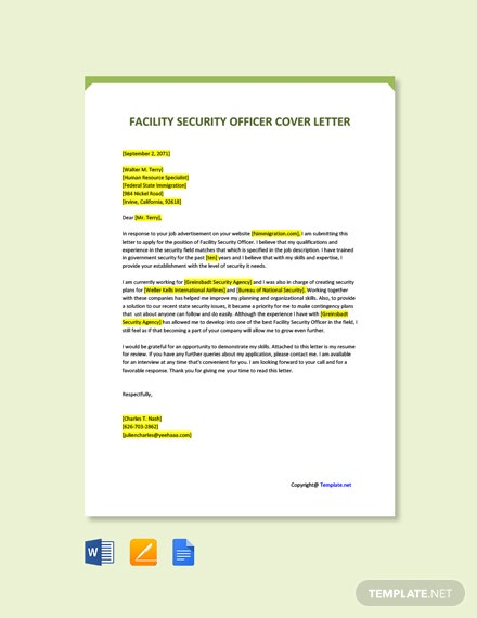 Free Facility Security Officer Cover Letter Template