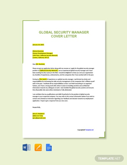 Free Global Security Manager Cover Letter Template