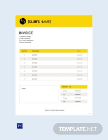 Free Sports Invoice template