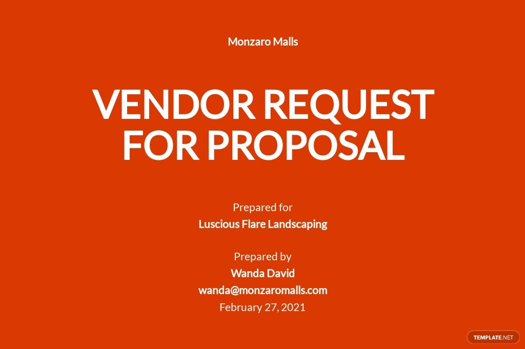 Vendor Request for Proposal Template