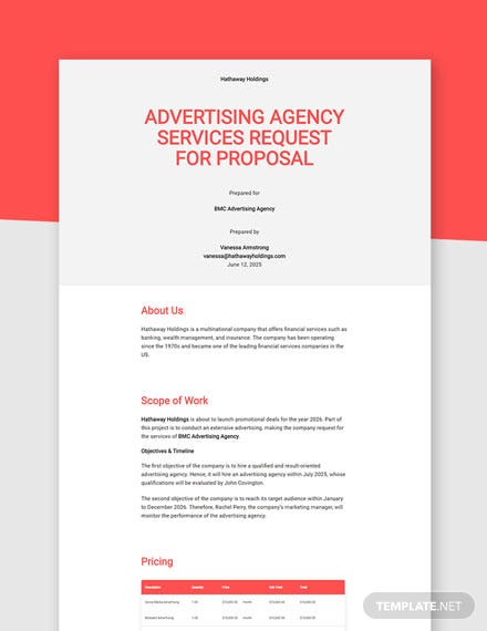 Editable Advertising Request for Proposal Template