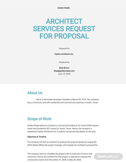 Architect Request for Proposal Template