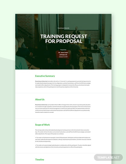 Training Request for Proposal Template