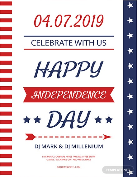 happy independence day free happy independence day flyer template