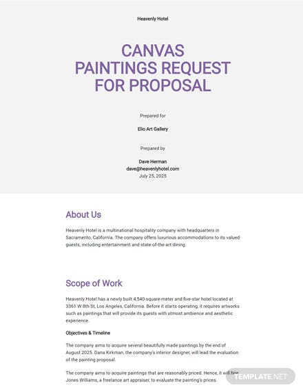 Art Request for Proposal Template