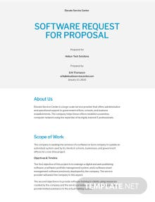 Software Request for Proposal Template
