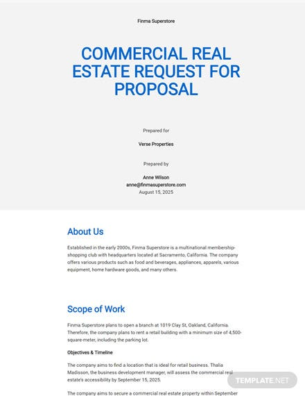 Editable Commercial Real Estate Request for Proposal Template