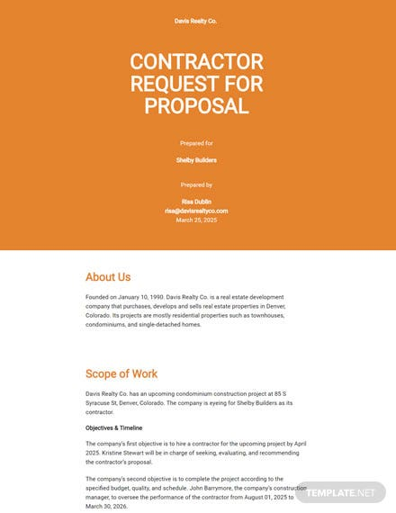 Contractor Request for Proposal Template