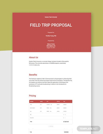 Field Trip Proposal Template