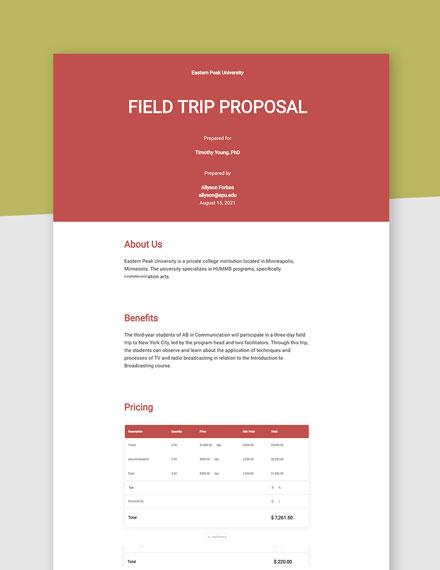 Field Trip Proposal Template