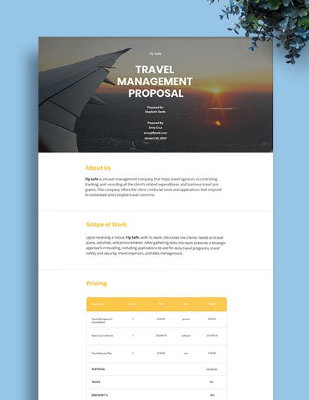 Travel Management Proposal Template