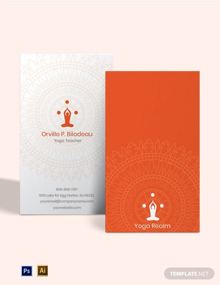 Free Elegant Yoga Teacher Business Card Template