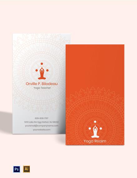 Free Elegant Yoga Teacher Business Card Template