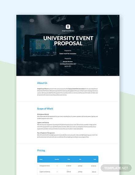 University Event Proposal Template