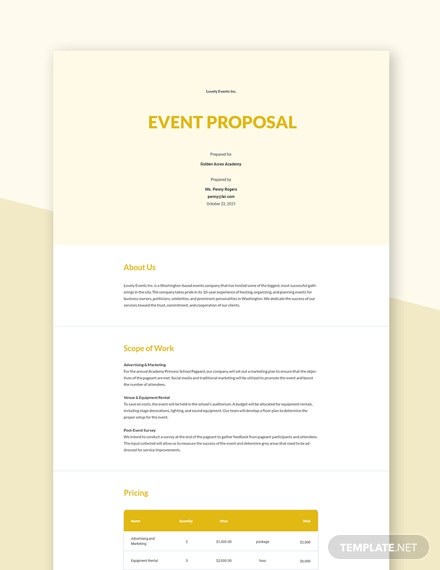 Free Simple Event Proposal Template