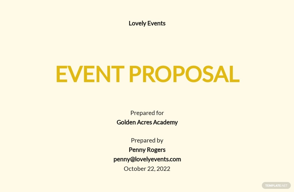 Simple Event Proposal Template