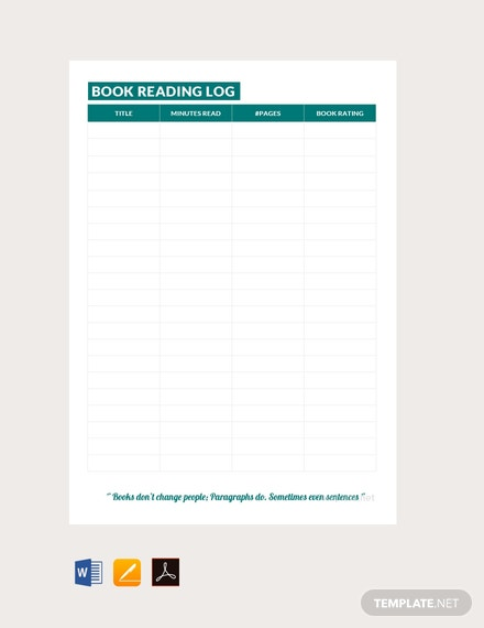 Free Book Reading Log Template