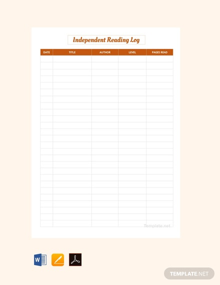 Free Independent Reading Log Template