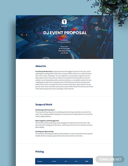 DJ Event Proposal Template
