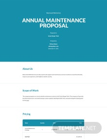 Annual Maintenance Contract Proposal Template