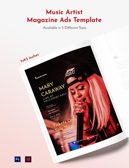 Free Music Artist Magazine Ads Template