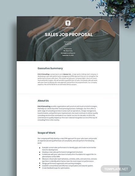 Sales Job Proposal Template