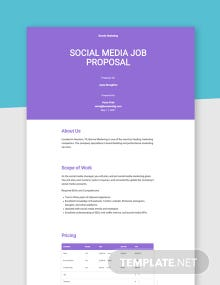 Social Media Job Proposal Template