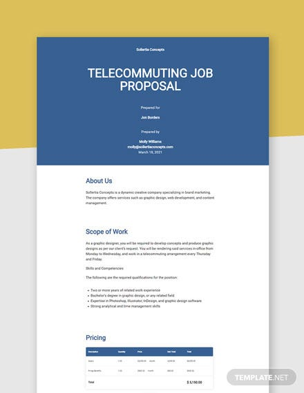 Telecommuting Job Proposal Template