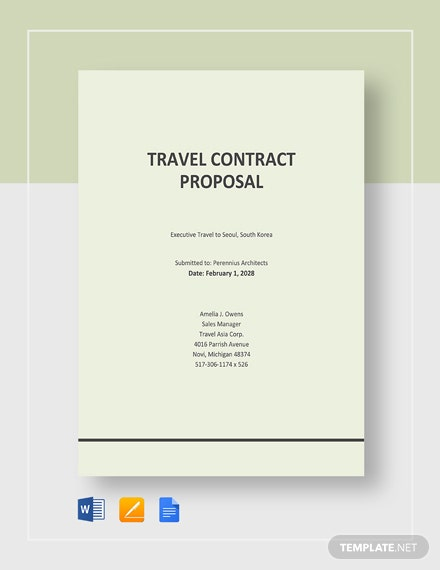 Travel Contract Proposal Template