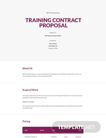 Training Contract Proposal Template