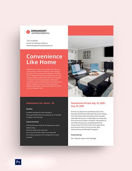 Residential Room Data Sheet Template