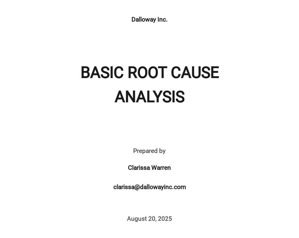 Free Basic Root Cause Analysis Template
