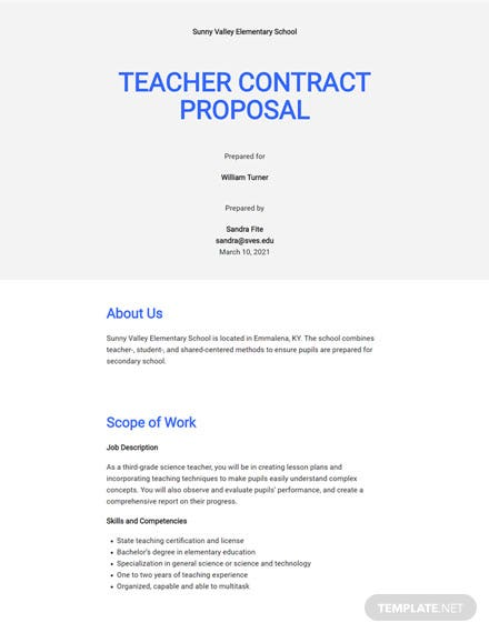 Teacher Contract Proposal Template