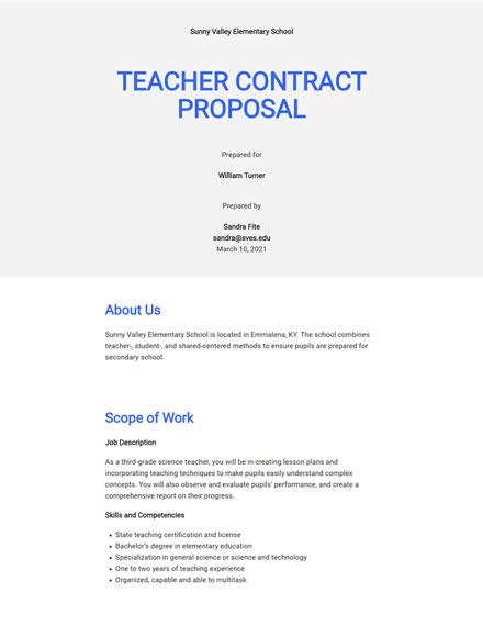 Teacher Contract Proposal Template