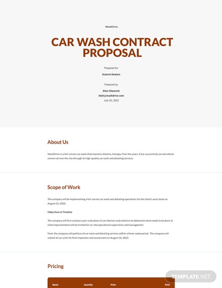 Editable Car Wash Contract Proposal