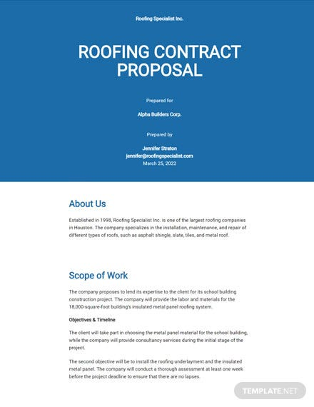 Editable Roofing Contract Proposal Template