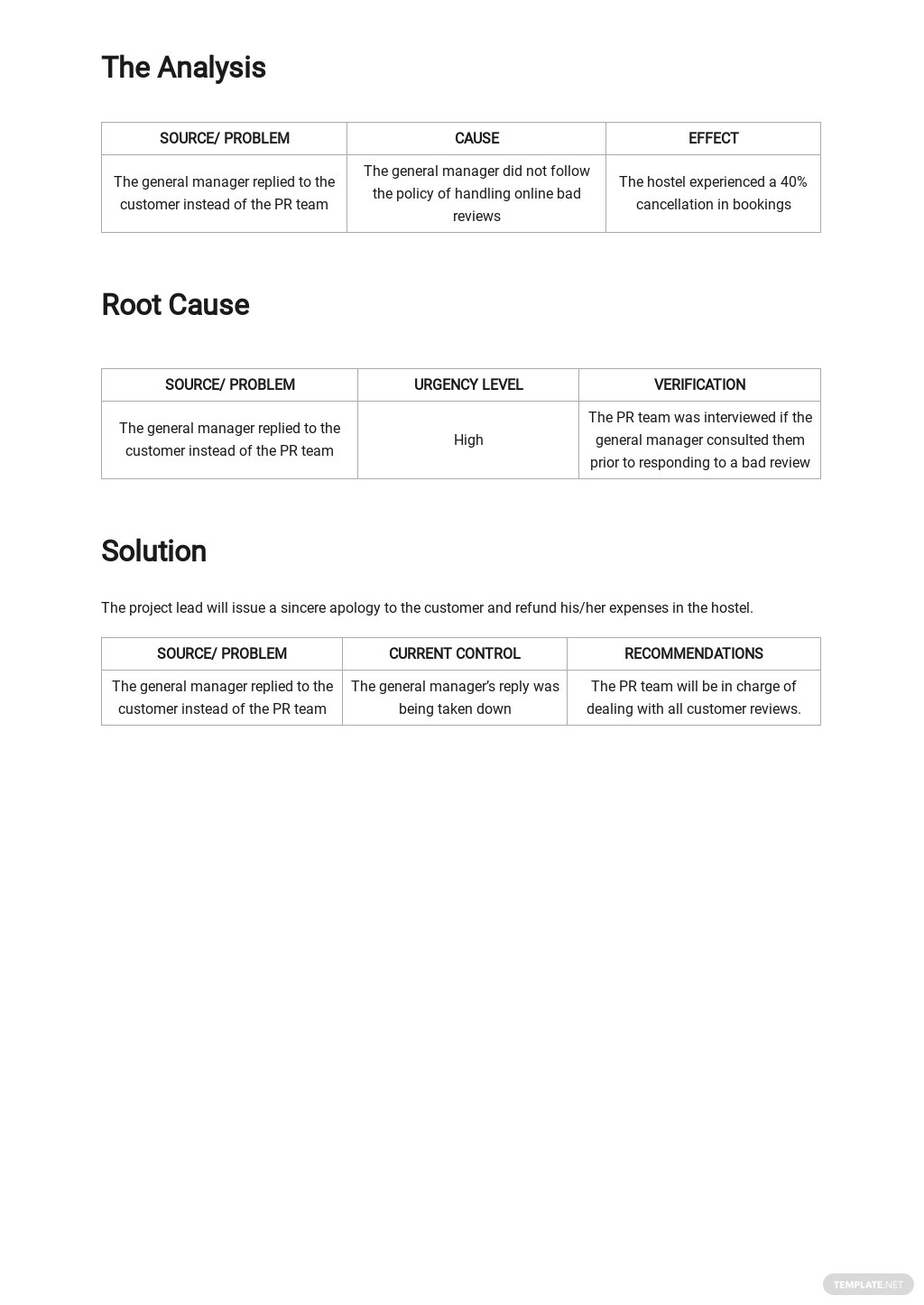 FREE Blank Root Cause Analysis Template - Google Docs, Word