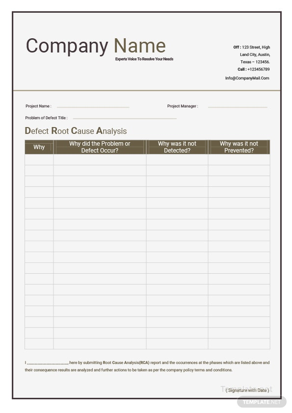 Click To See Full Template. Defect Root Cause Analysis