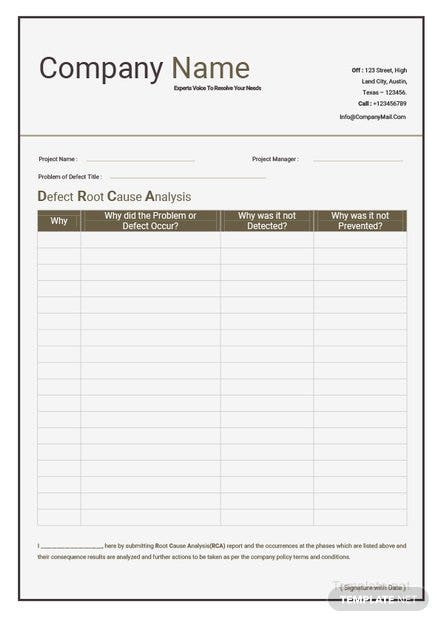 Basic Root Cause Analysis Template: Download 239+ Sheets in Word ...