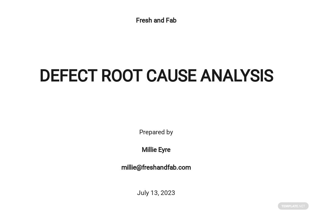 Free Defect Root Cause Analysis Template