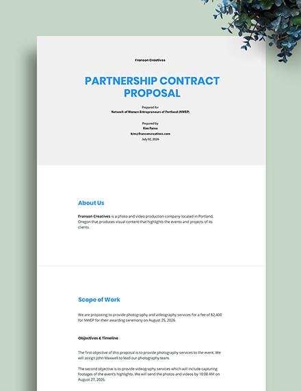 Partnership Contract Proposal Template