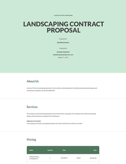Landscape Contract Proposal Template