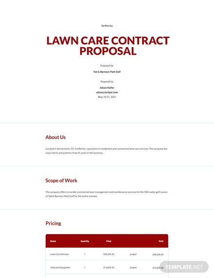 Lawn Care Contract Proposal Template