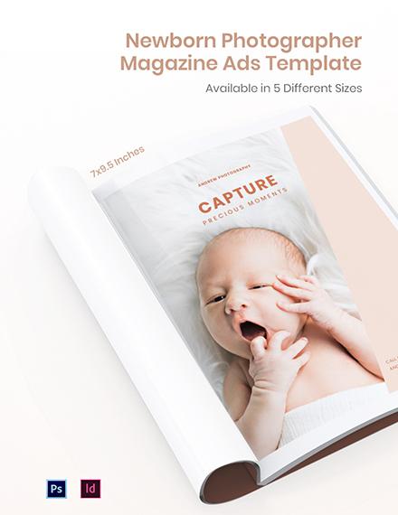 Free Newborn Photographer Magazine Ads Template