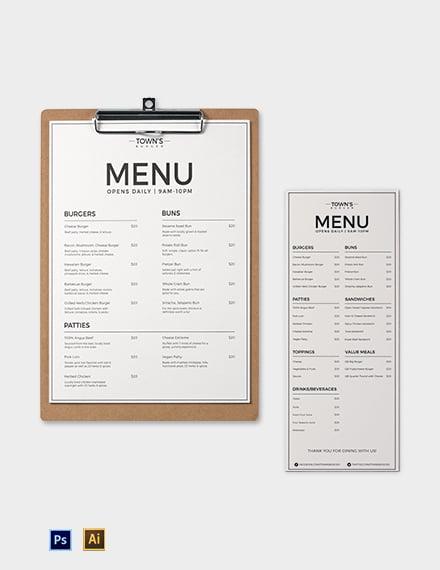 elegant burger menu template440