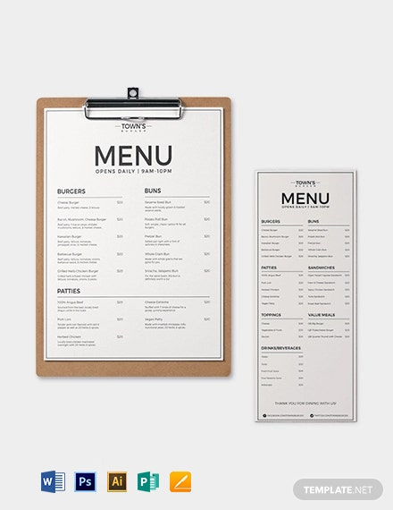 Free Elegant Burger Menu Template
